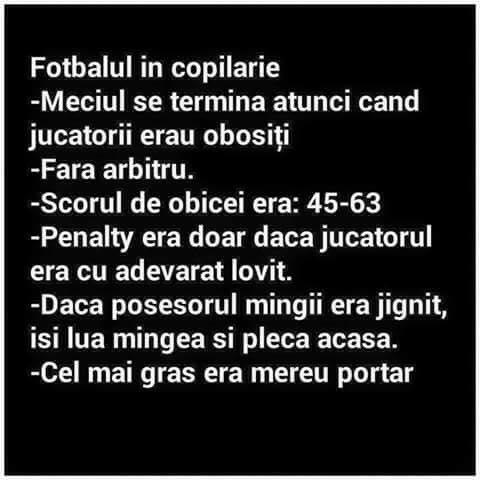 Fotbalul in copilarie