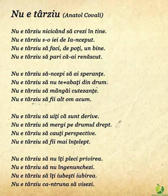 Nu e tarziu- Anatol Covali