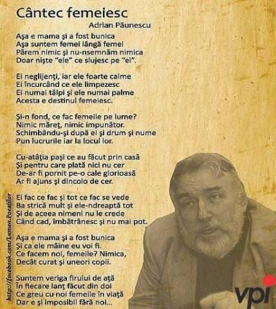 Cantec femeiesc- Adrian Păunescu