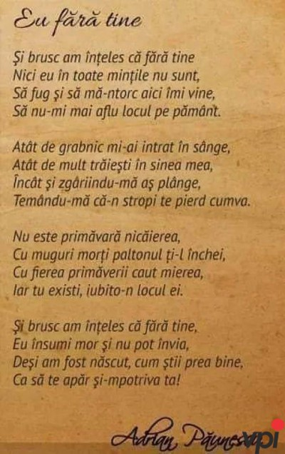 Eu fara tine - Adrian Paunescu