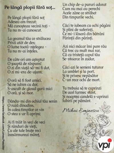 Pe lângă plopii fără soț, de M. Eminescu