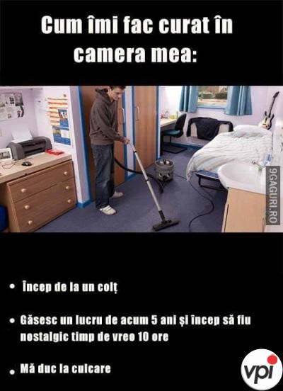 Cum îmi fac curat în cameră