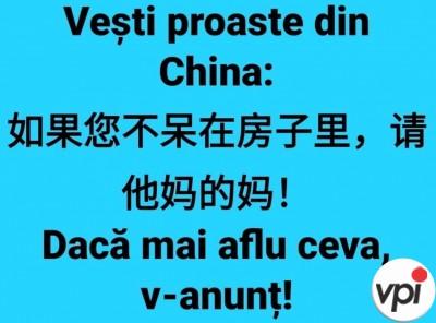 Vești proaste din China