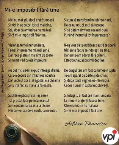 Mi-e imposibil fără tine - Adrian Păunescu