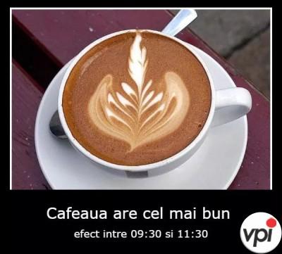 Între ce ore are cafeaua efect?