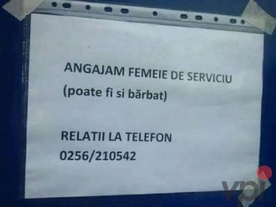 Angajam femeie de serviciu!