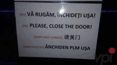 Anunt pe usa